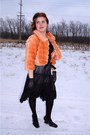 Black-rw-co-skirt-orange-faux-fur-forever-21-jacket