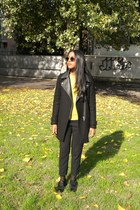 black Zara coat - yellow Iblues sweater - black H&M panties