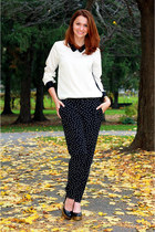 polka dots ann taylor pants - ann taylor blouse - Yves Saint Laurent heels