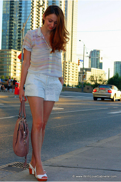 Club Monaco shorts - coach purse - wilfred blouse - Fendi wedges
