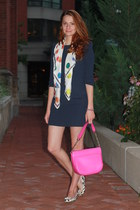 polka dot scarf - Juicy Couture dress - kate spade purse - Brown Shoes flats