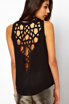 Cut Out Weave Back Irregular Hem Tank Top - Black