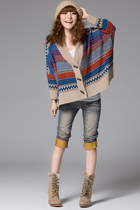 Stripes Horn Buttons Bat-wing Sleeves Cardigan