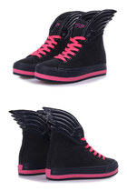 Contrast Color Lacing Up Wings Navy Sneakers Shoes