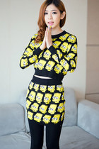 Bart Simpson Cropped Sweater Skirt Knit Suit