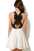 Open Cross Bow Back Cut Out Deep V Dress