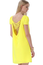 Straps Weave Back Shift Chiffon Dress - Yellow