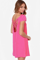 Straps Weave Back Shift Chiffon Dress - Hot Pink
