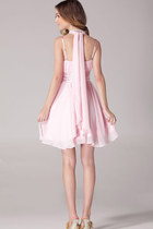 Long Ribbons Back Straps Halter Pink Dress