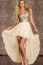 Sequins Strapless Cocktail Chiffon Dress