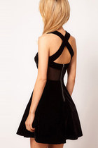 Sheer Mesh Cross Back Velvet Skater Dress