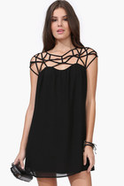 Cut Out Weave Shift Chiffon Black Mini Dress