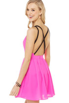 Hot Pink Deep V Dress with Straps Cross Back