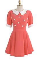 Peter Pan Collar Floral Beading Orange Chiffon Dress