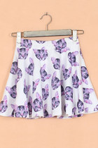 Lovely Cat Print Skater Mini Skirt - White/Purple
