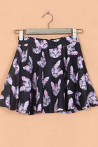 Lovely Cat Print Skater Mini Skirt - Black/Purple