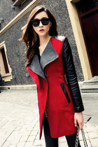 Faux Leather Sleeves Big Lapels Slim Red Coat