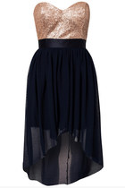 Sequins Strapless Irregular Hem Chiffon Dress