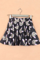 Lovely Cat Print Skater Mini Skirt - Black/Orange
