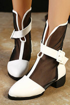 White Sheer Mesh Buckle Ankle Boots