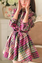 Rainbow Check 3/4 Sleeves Cotton Dress