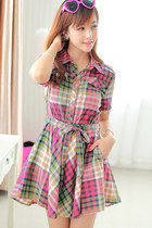 Rainbow Check Short Sleeves Cotton Dress