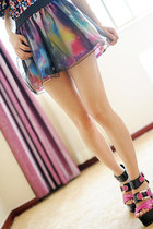 Galaxy Print Mini Skirt with Black Organza Overlay