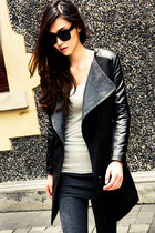 Faux Leather Sleeves Big Lapels Slim Black Coat
