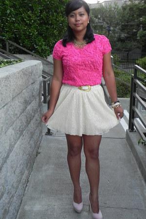 hot pink Zara top - cream sequined Zara skirt - light pink suede Bakers pumps -