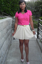 hot pink Zara top - cream sequined Zara skirt - light pink suede Bakers pumps -