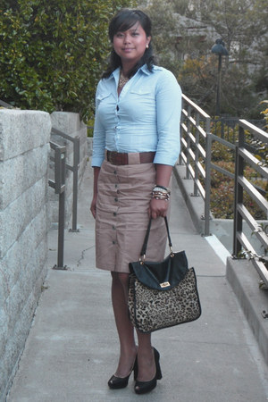 H&M shirt - leopard print Forever 21 bag - black Payless pumps - tan button down