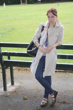 Topshop coat - Miu Miu scarf - Mulberry accessories - Topshop jeans - Topshop sh