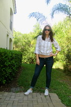 Chuck Taylor shoes - American Eagle jeans - JCrew shirt - Roxy sunglasses