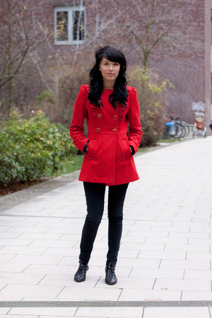 red coat - black pants - black shoes