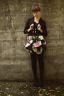 black Betsey Johnson dress - black H&M jacket - black Walmart tights - black Urb