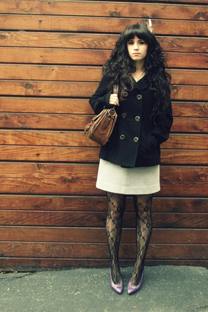 black coat - white skirt - black tights - purple shoes