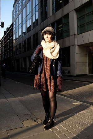 blue jacket - brown dress - brown tights - brown gloves - black shoes - black pu