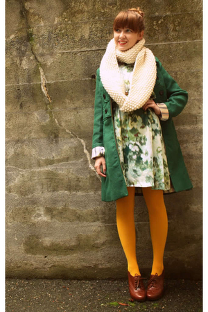 green Tulle coat - green H&M dress - gold We Love Colors tights - white YarnOver
