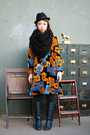 orange floral dress - black boots - black hat - black tights - black scarf
