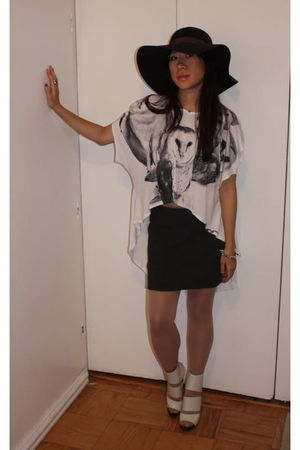 white shirt - white shoes - black hat - black skirt