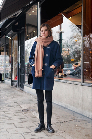 blue coat - black leggings