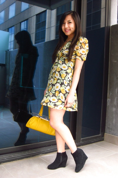yellow Topshop dress - black cotton on shoes - yellow Dorothy Perkins