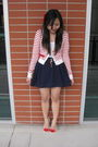 White-cotton-on-top-red-forever-21-cardigan-blue-forever-21-skirt-gold-for
