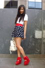 red unknown belt - red Topshop shoes - white Miu Miu bag - blue asos shorts