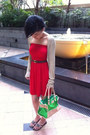 Red-primark-dress-chartreuse-primark-bag-brick-red-bally-belt