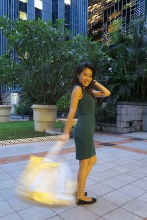 gold new look bag - teal H&M dress - navy ballerina H&M flats