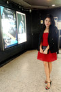 Red-tube-dress-forever-21-dress-black-mango-blazer