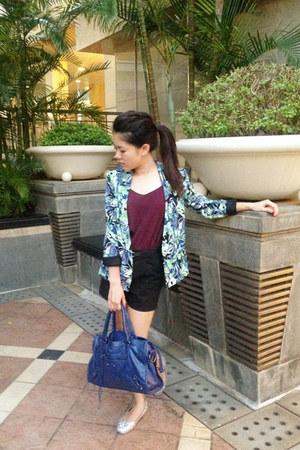 patterned Forever 21 blazer - black H&M shorts - maroon cami top H&M vest