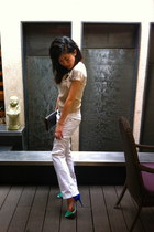 Zara sandals - gray dior purse - white new look pants