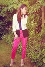 White-monochrome-h-m-blazer-navy-cami-primark-top-hot-pink-chinos-h-m-pants